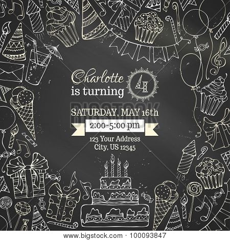 Chalk Birthday Invitation Blackboard Template.