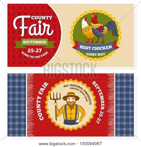 County fair vintage invitation cards vector illustration