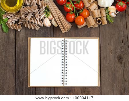 Olive Oil, Pasta, Garlic And Tomatoes  With Blocknote