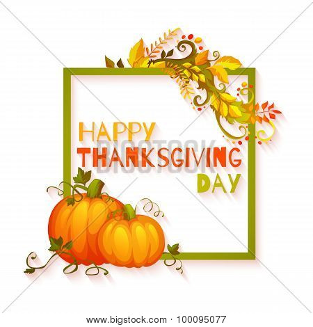 Happy thanksgiving day banner with flowers and pumpkin