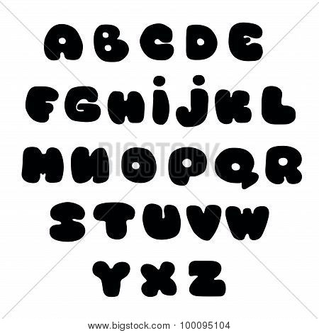Handwritten alphabet, lettering. Hand drawn lowercase letters.