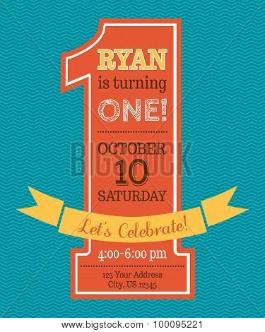 One Year Birthday Invitation.