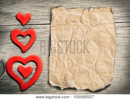 Red Hearts On Wood - Retro Background