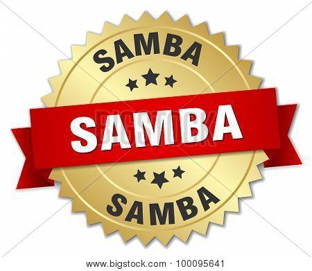 Samba 3D Gold Badge With Red Ribbon