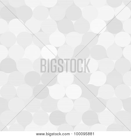 Pale Gray Vector Seamless Pattern With Circles.  Monochrome Abstract Geometrical Background.