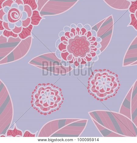 Vector Soft Purple Seamless Pattern With Doodle Pink Flowers. Pale Lilac Floral Background.
