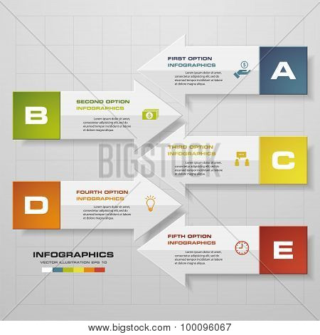 5 steps modern arrow infographics elements. Vector illustration.