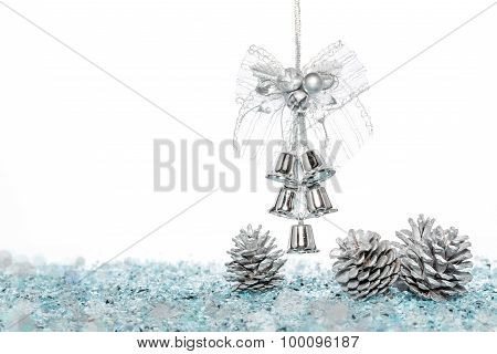 Luxury Silver Jingle Bells With Snow And Pine Cone