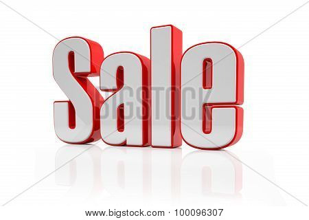 3D - Sale Text - Red-white
