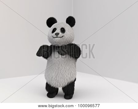 Panda Fluffy Mascot 3D
