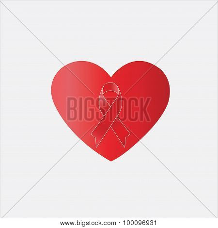 Red Ribbon In Heart Shape,heart , Aids Day Awareness ,