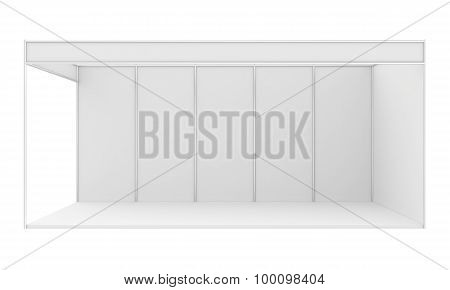 Blank exhibition stand. 3d render isolated on white background