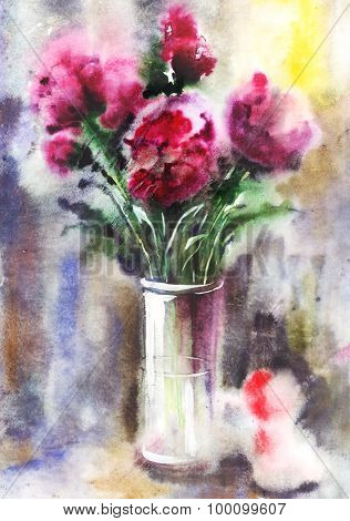 Watercolor Bouquet Of Peonies
