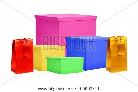 Paper Color Gift Boxes And Bags Isolated On White