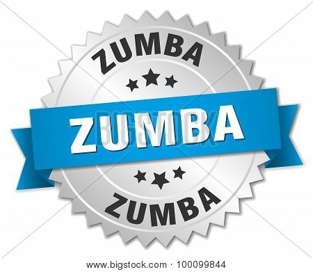 Zumba 3D Silver Badge With Blue Ribbon