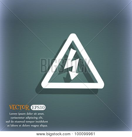 Voltage Icon Symbol On The Blue-green Abstract Background With Shadow And Space For Your Text. Vecto