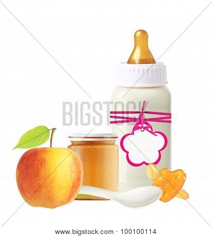 Jar Of Baby Puree, Baby Milk Bottle, Apple And Dummy Isolated On White