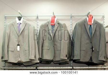Men's jackets on display