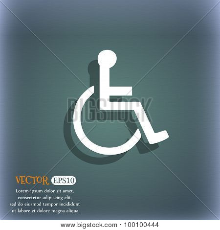 Disabled Icon Symbol On The Blue-green Abstract Background With Shadow And Space For Your Text. Vect