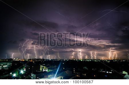 Bright lightnings in the night sky