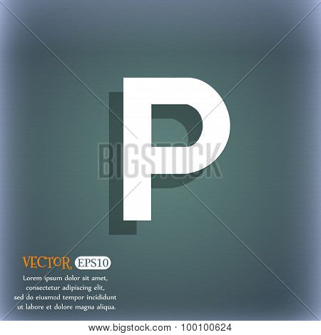 Parking Icon Symbol On The Blue-green Abstract Background With Shadow And Space For Your Text. Vecto