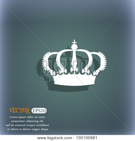 Crown Icon Symbol On The Blue-green Abstract Background With Shadow And Space For Your Text. Vector