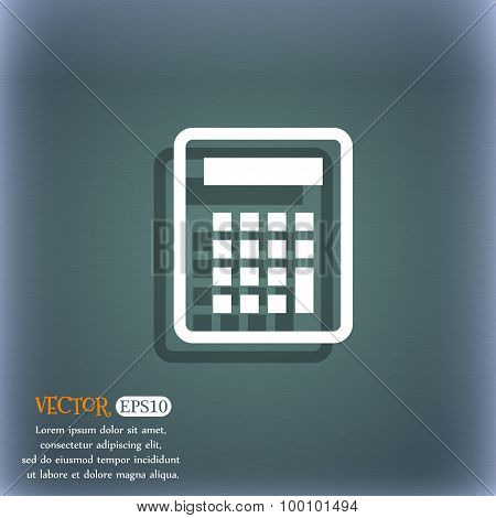 Calculator Icon Symbol On The Blue-green Abstract Background With Shadow And Space For Your Text. Ve
