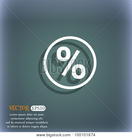 Percentage Discount Icon Symbol On The Blue-green Abstract Background With Shadow And Space For Your