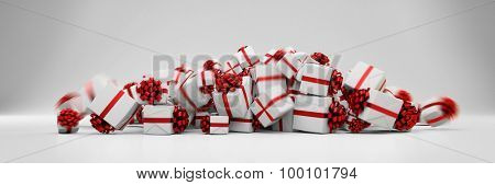 Many gifts for christmas with red ribbons falling on a heap (3D Rendering)