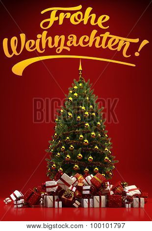 Christmas tree and gifts with German slogan