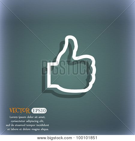 Like Icon Symbol On The Blue-green Abstract Background With Shadow And Space For Your Text. Vector