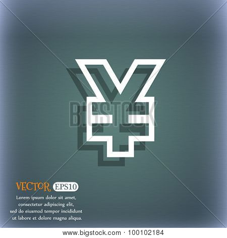 Yen Jpy Icon Symbol On The Blue-green Abstract Background With Shadow And Space For Your Text. Vecto