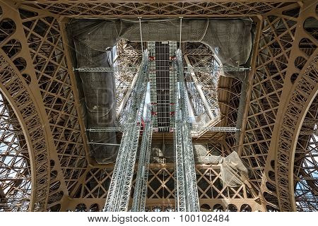 Closeup View Of The Framework And Architecture Details Of The Eiffel Tower In Paris, France.