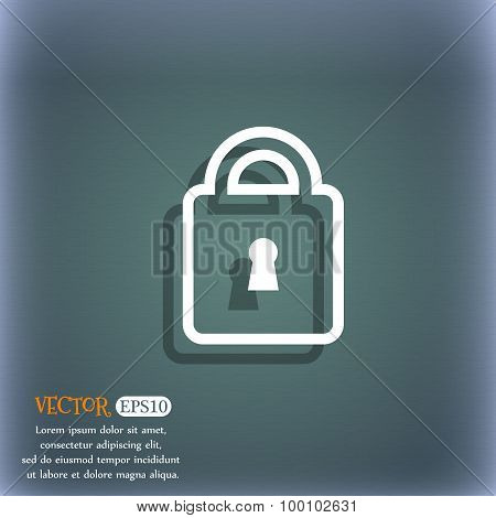 Lock Icon Symbol On The Blue-green Abstract Background With Shadow And Space For Your Text. Vector