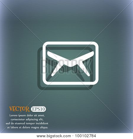 Mail, Envelope, Message Icon Symbol On The Blue-green Abstract Background With Shadow And Space For