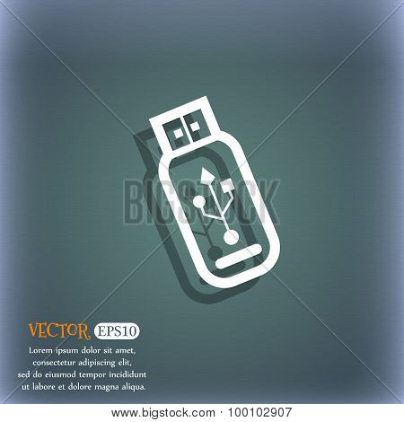 Usb Flash Drive Icon Symbol On The Blue-green Abstract Background With Shadow And Space For Your Tex