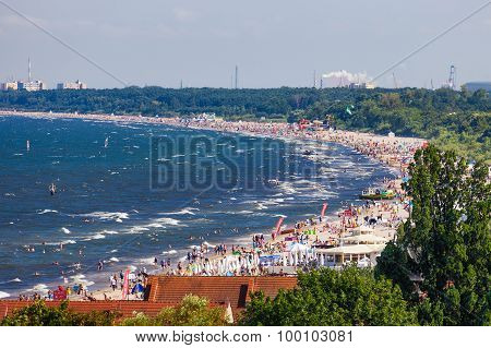Crowded Sandy Beach In Sopot.