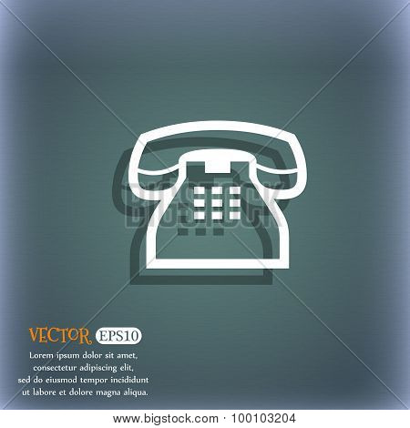 Retro Telephone Handset Icon Symbol On The Blue-green Abstract Background With Shadow And Space For