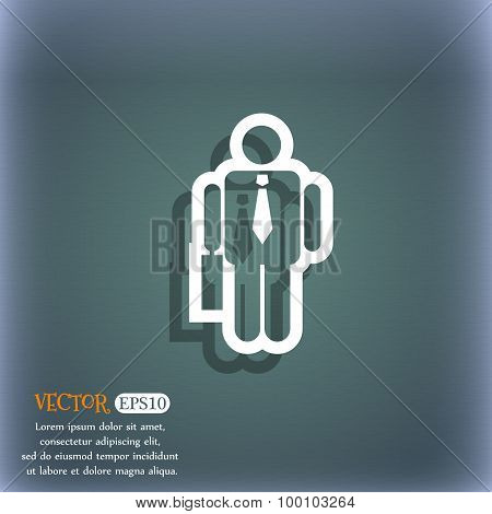 Businessman Icon Symbol On The Blue-green Abstract Background With Shadow And Space For Your Text. V