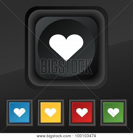 Heart, Love  Icon Symbol. Set Of Five Colorful, Stylish Buttons On Black Texture For Your Design. Ve