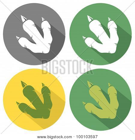 Dinosaur Paw Flat Design. Collection Set
