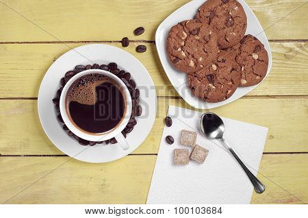 Coffee Cup And Chocolate Cookies