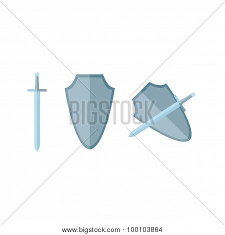 Sword And Shield In Flat