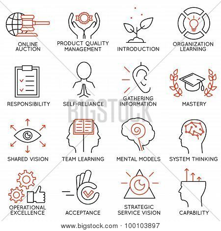 Vector Set Of 16 Icons Related To Business Management - part 6