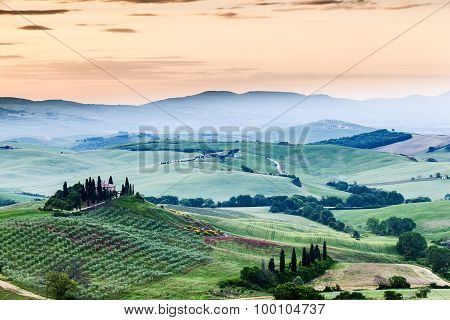 The Fairytale Landscape Of Tuscany Fields At Sunrise