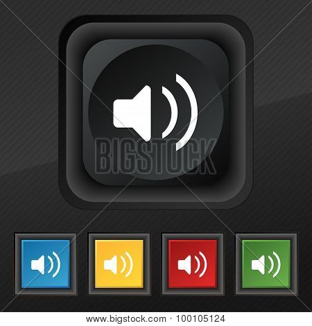 Speaker Volume, Sound  Icon Symbol. Set Of Five Colorful, Stylish Buttons On Black Texture For Your