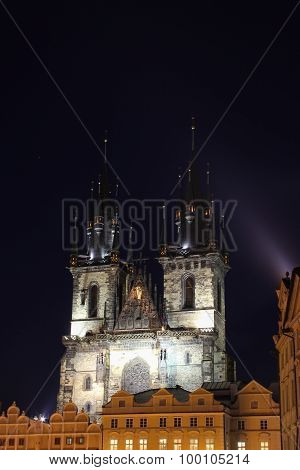 Iluminated Church In Prague