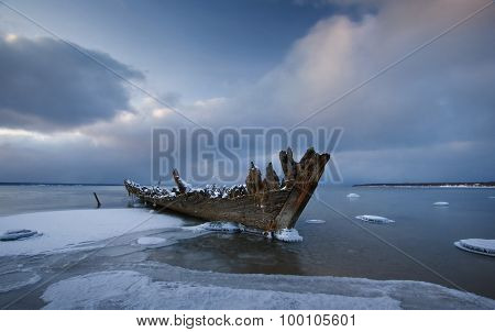 Old wooden shipwreck