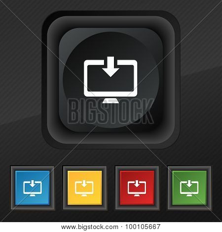 Download, Load, Backup  Icon Symbol. Set Of Five Colorful, Stylish Buttons On Black Texture For Your