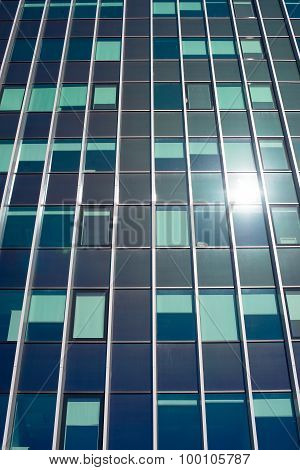Modern Glass Building In The City.